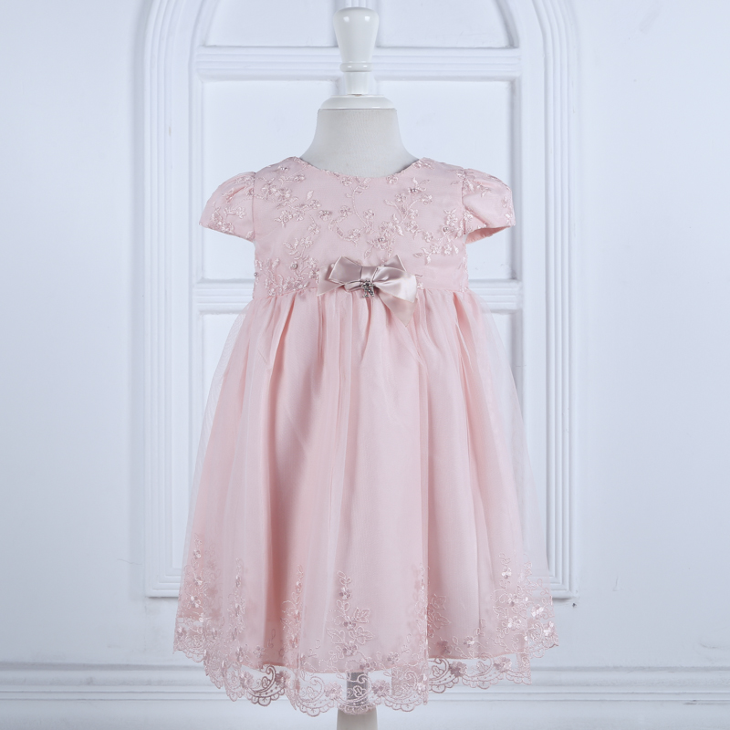 Nimble Cute Mid-Calf Ball Gown Embroidery Pearls Baby Girls Dress Pink Orange Christmas Birthday Party Cloth 1-4Y <br><br>Aliexpress
