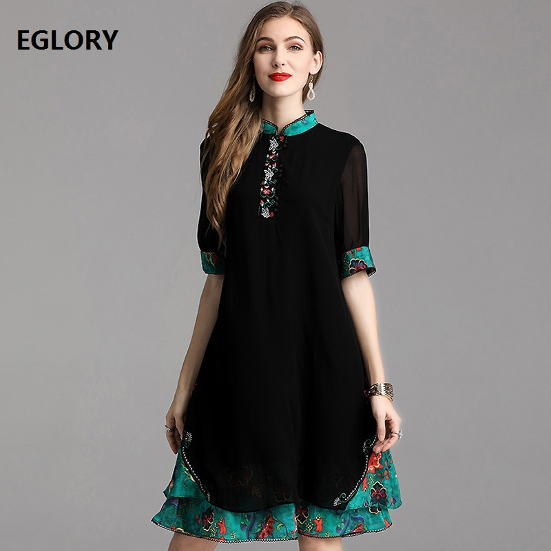 Top Quaity Brand Silk Dress 2019 Summer Fashion Plus Size Dress Women Luxurious Embroidery Green Color Block Vintage Black Dress