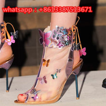 New Fashion Trend Breathable Mesh Metal Leather Colorful Butterfly Embellished Ankle Boots Peep Toe Sleek High Heel Shoes Woman