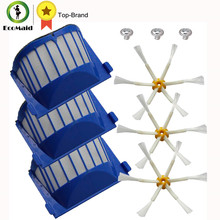 Aero Vac Filters Side Brush 6-Armed kit For iRobot Roomba 500 600 Series 536,550,551,552 595, 600,620, 650Vacuum Cleaning Robots