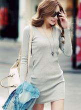The new 2015 spring autumn v-neck Elasticity knitting fashion sexy dress women winter long sleeve head grey sweater size M L  XL(China (Mainland))