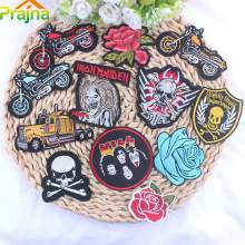 Prajna Punk Patch Rock Band Skull Patch Biker Iron On Cheap Embroidered Motorcycle Patches For Clothes Stickers Jeans Badges