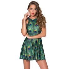 New Sexy Women Clothes Cartoon Female Dresses Peacock Galaxy Dress Pleated Sundress