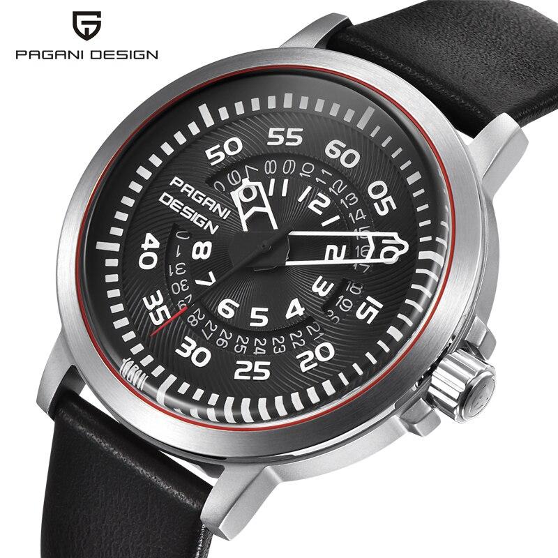 Mens Watches Top Luxury PAGANI DESIGN Waterproof Leather Quartz Watch Men Unique Design Hollow Calendar Mens Watches<br>