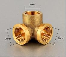 "Wall Corner 3 Ways Tee Brass Elbow Pipe fitting Connector 1/2"" BSP Equal Female Thread for water pipe"