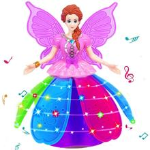 Girl Dancing Princess Multifunction Music Doll LED Pet Electronic Robot Light Up toy D40+(China)