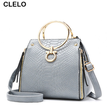 CLELO Mini Small Designer Fashion Alligator Metal Ring Handbags Women Pu Leather Shoulder Messenger Bag Female New Clutches Bags(China)