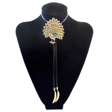 Women Luxury Bolo Tie Plated Alloy Peacock with Blue Crystal Neck Tie Elegant Fashion Jewelry For Women Daily Bijoux Accessories