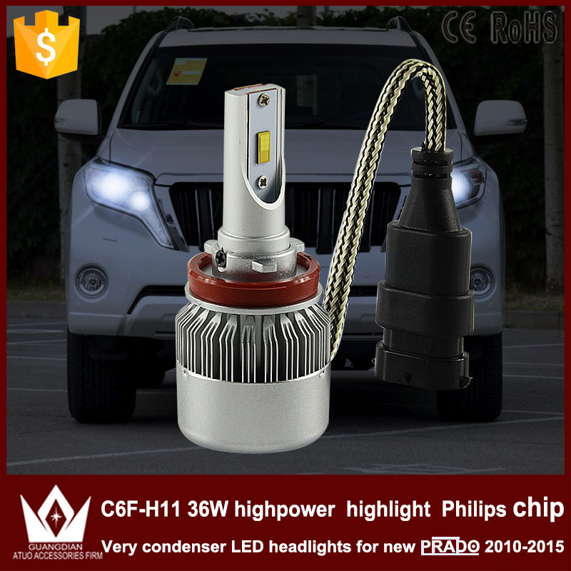 Cheetah car led light LOW BEAM DIPPED BEAM C6F  H8 / H9 / H11 36W DC 12V/24V 3800LM 6000k highpower fit for NEW PRADO 2010-2015 <br><br>Aliexpress