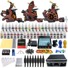 Beginner Tattoo Starter Kits 3 Coil Tattoo Machines Guns 40 Ink Sets Power Supply Needles Top Tattoo Ink TK351