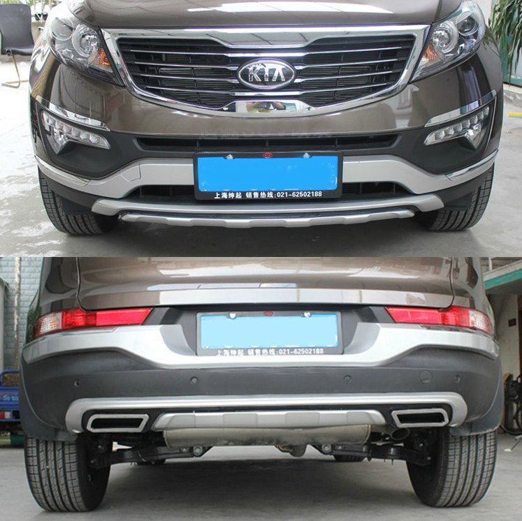 High quality plastic ABS Chrome Front+Rear bumper cover trim For 2011-2014 KIA Sportager ,car styling<br><br>Aliexpress