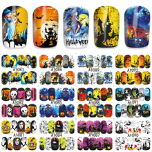 Thrilling Pumpkin Design Nail Art Water Decals Nail Wraps Transfer Foil Nails Decorations Tools 12pcs/Lot A1081-1092(China)