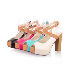 Hot Sale Summer European Fashion Women's Wedges Sandals High Heels Platform Open Toe size 43 Ankle Straps Shoes Summer Pumps(China)