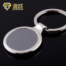 Wholesale Fashion Round Key chain business promotion keychains circular single card Metal Keyring for men gift(China)