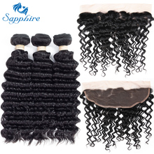 Sapphire Deep Wave Remy Human Hair 3 Bundles With 13*4 Lace Frontal 1B# Color For Hair Salon High Ratio Longest Hair PCT 15%