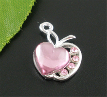 "Buy DoreenBeads 10 Silver color Pink Rhinestone ""Apple Heart"" Charm Pendants 20x13mm, B07196, yiwu for $1.31 in AliExpress store"