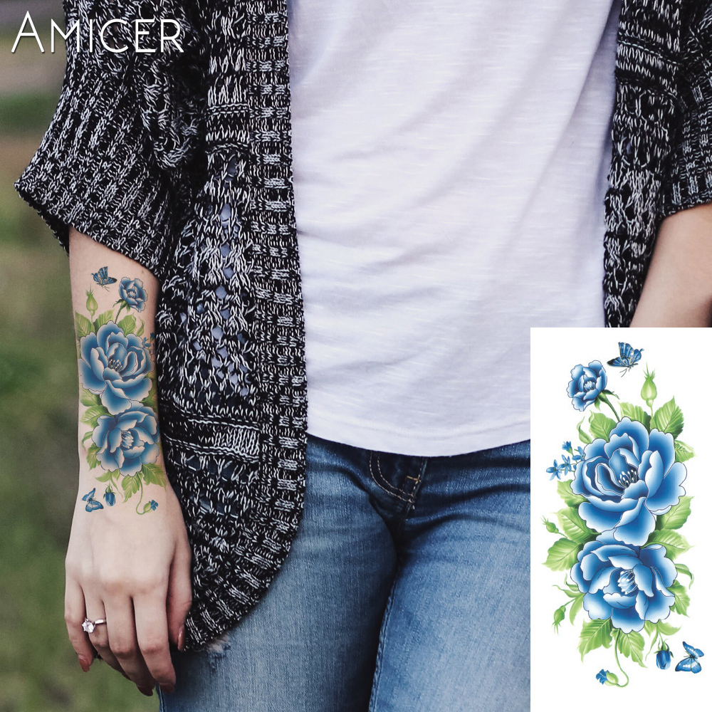 3D lifelike Cherry blossoms rose big flowers Waterproof Temporary tattoos women flash tattoo arm shoulder tattoo stickers 14