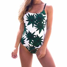 Women Swimwear New Sexy halter straps  Coco palm trees one piece swimsuit Black and white printing women bathing suits EA14