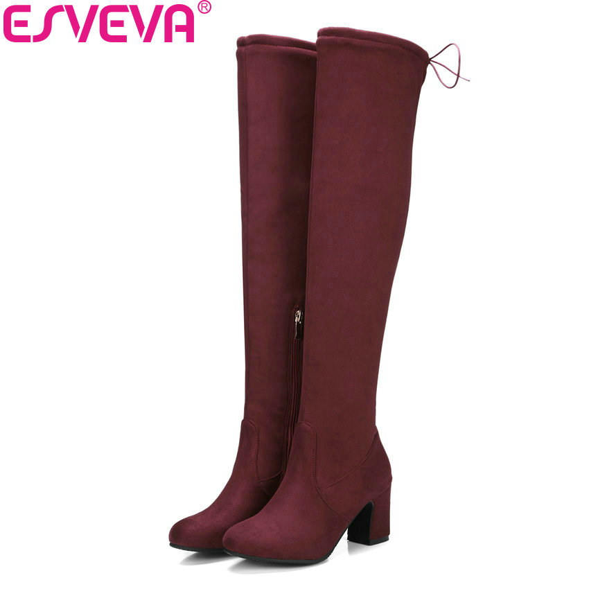ESVEVA 2018 Women Boots Suede Leather Over The Knee Boots Short Plush Round Toe Square High Heel Ladies Long Boots Size 34-43<br>