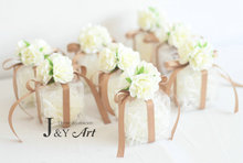 Romantic Candy Boxes with Transparent  Silk Flower Plastic Candy Boxes Chocolate Wedding Favor Party Gift 10pcs/lot JY-019