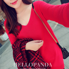 16 spring sexy relaxed casual deep V collar sweater sweater coat Strapless female all-match fat MM head.