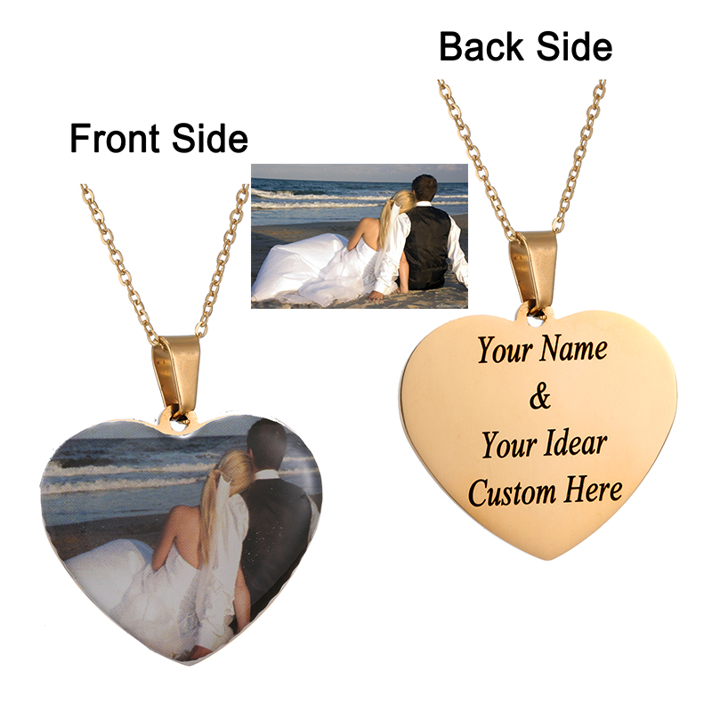 AMORUI Custom Photo Initial Letter Heart Necklace Personalized Any Photo/Name Silicone Necklaces Customized Nameplate Jewelry(China)