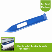 Car Inner Accessories Blue Co-pilot Center Console Trim Frame Stickers For Ford Mustang 2015 2016 2017(China)