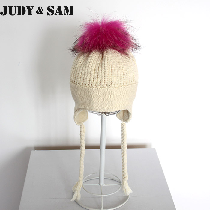 Baby Lovely Pure Cotton and Winter Braid Hat with Luxury Real Fur Pompom For Girls 1-3months Boys Baby CapОдежда и ак�е��уары<br><br><br>Aliexpress
