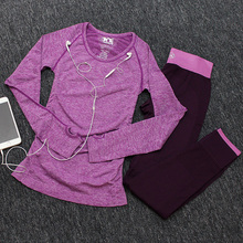 Women two pieces set yoga long sleeve t-shirt and pants sport suits fitness gym tracksuit running training workout clothing(China)