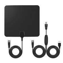 Amplified HD TV Antenna 25 Miles Range Digital Indoor TV Antenna Signal Amplifier Booster w/10ft Long Range Cable HDTV High Gain