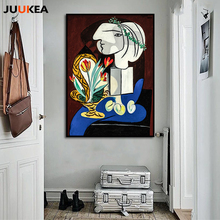 Artist Pablo Picasso Abstract Oil Painting Print On Canvas Art, Girl Lady Woman Flowers Wall Pictures For Living Room Home Decor