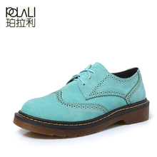 polali Size34-43 Brogue Oxford Shoes Women Spring/Autumn Nubuck Leather Oxford Shoes Flats Shoes Woman Moccasins Ladies Shoes