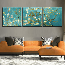 Print Painted Van Gogh Oil Painting Reproductions 3 Piece Abstract Canvas Art Almond Flower Picture Modern Wall