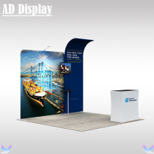 3m*3m Exhibition Booth Solution Portable Easy Fabric Backwall With Advertising Podium Counter And One Light(No TV Accessory)(China)
