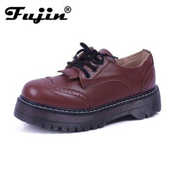 British Gothnic Lace Up Retro Preppy Flat Platform Oxfords for Female Womens Brogues Wingtip Platform Creepers Shoes Plus Size