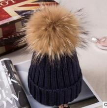 winter baby natural fur hat children's winter knit hat for girls for boys knit cap for children double t(China)