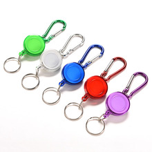 2016 New Retractable Metal Card Badge Holder Colourful Strap Carabiner Clip Card label Key Chain Wholesale