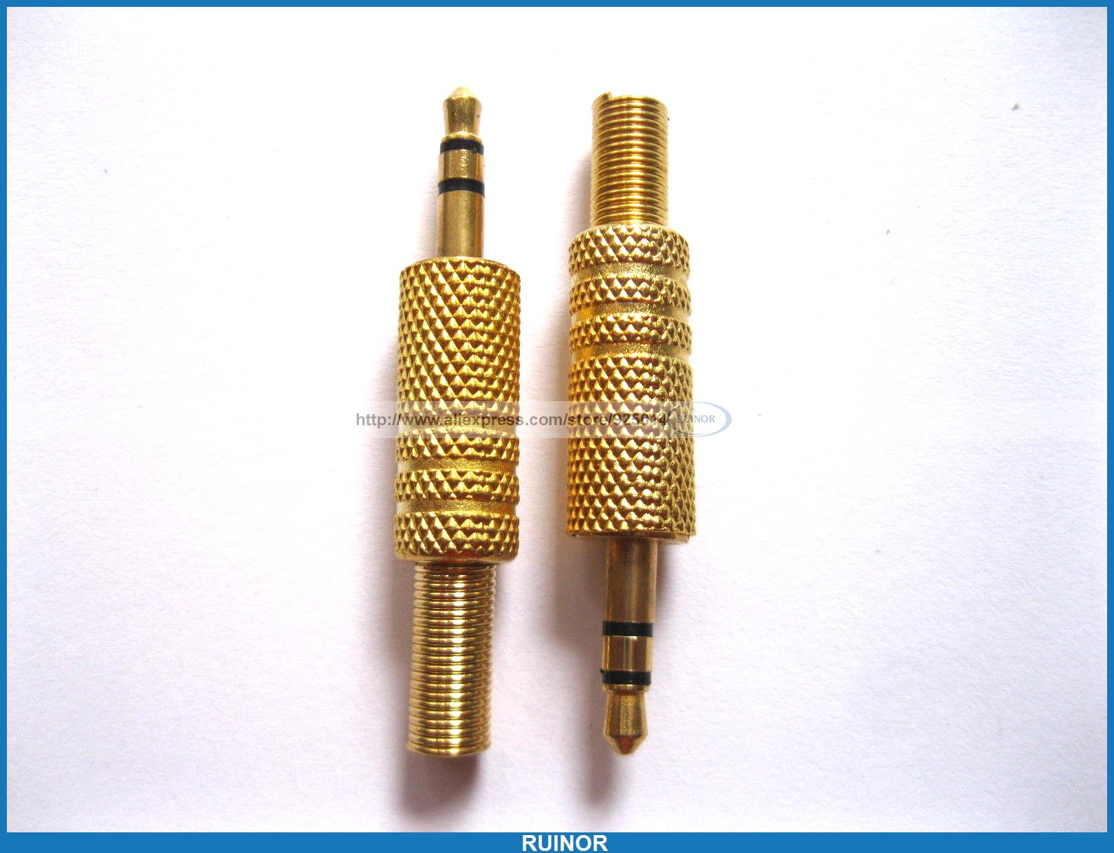 30 Pcs 3.5mm Stereo Audio Plug Gold Plated with Spring <br><br>Aliexpress