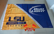 free shipping University of LSU with BUD light Flag ,90X150CM size,stain material,Digital printing,double layers(China)