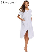 Ekouaer Elegant Nightgown 2017 Casual Loose Solid Nightdress Autumn Women Bottom Victoria Style Sleepwear Home Dress(China)