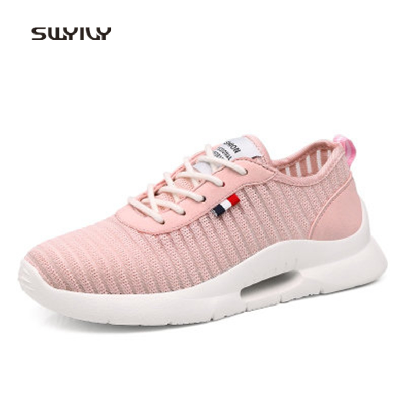 SWYIVY Women Running Shoes Lyca Mesh Breathable Super Light Sneakers 2018 New Hollow Wear-resistant Soft Female Athele Shoes
