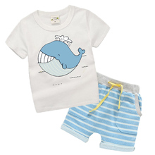 100% Organic Cotton Kids Boy Clothes Summer 2017 New Children Toddler boys Clothing Sets Cartoon Animal Whale Pattern TL05