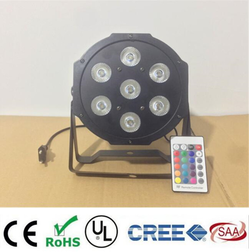 Wireless Remote Control LED The brightest 8 dmx Channels Led Flat Par 7x12W RGBW 4IN1 Fast Shipping<br>