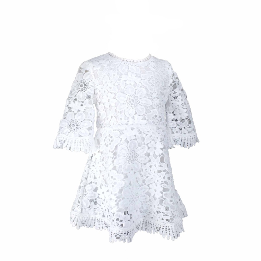Ins Hot Sell Sweet Baby Girls Lace Dress Bell Sleeve Princess Summer White Party Dress Western Fashion Cute Baby Clothing(China (Mainland))