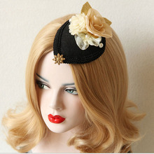Genuine Brand Gauze Bow Vintage Aristocratic Hairpins Ladies Small Top Hat Fashion Black Headwear Hair Accessory(China)