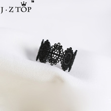 Hollow Lace Opening Rings Black Carved Flower Paint Wide Edge Lady Finger Ring 2017 Fashion Popular Jewelry(China)