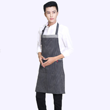 Aprons With Pocket Pinafore Simple Uniform Unisex Cotton, striped Aprons for Woman Men painting cafe Kitchen Chef Waiter Cooking(China)