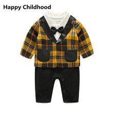 2017 Spring/Summer Baby Boy Clothes 2pcs gentleman infant clothing sets plaid suit coat+romper with bowtie for party/wedding(China)