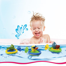 Rubber duck toy for bathroom Baby Pull And Go Boat Bath Toy Water Kids Swim Clockwork Water Boat Toys For Children(China)