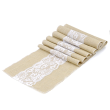 Jute Burlap Lace Hessian Table Runner Vintage Lace Table Runner for Festival Baby Shower Wedding decoration Supplies S/L 2 Size
